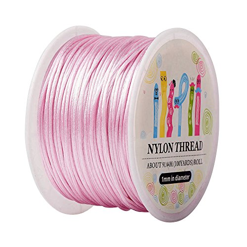 - Pandahall 1 Roll 1mm x 100yards Pink Rattail Satin Nylon Trim Cord Chinese Knot