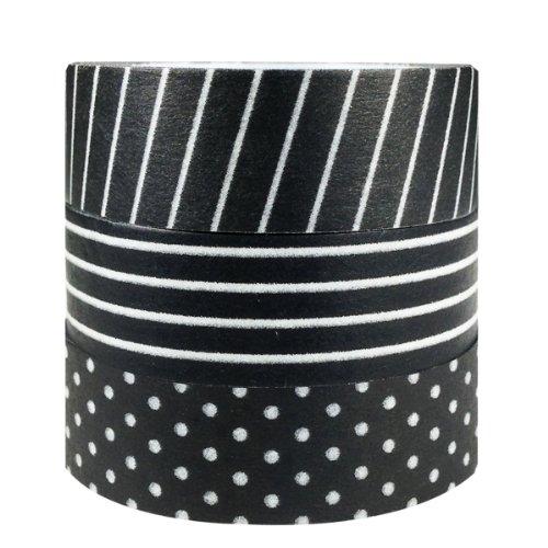 ALLYDREW Set of 3 Washi Tape Rolls Washi Masking Tapes (Black & White Washi Tapes)