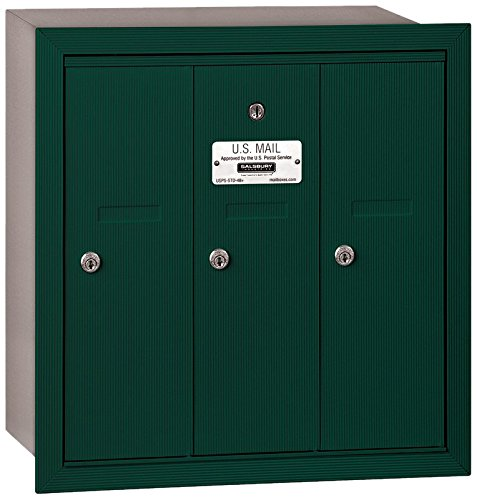 Salsbury Industries 3503GRU Recessed Mounted Vertical Mailbox with USPS Access and 3 Doors, Green by Salsbury Industries