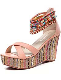 fcd60df1ec5f Women s Wedge Sandals with Pearls Across The Top Platform Sandals High Heels