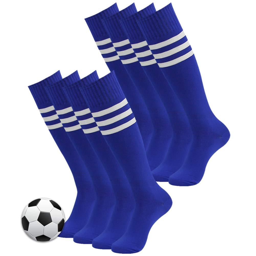 Three street 3street Soccer Game Socks, Unisex Long Knee High Striped Pattern Wicking Moisture Comfortable Sport Football Soccer Team Compression Socks Blue 8 Pairs by Three street