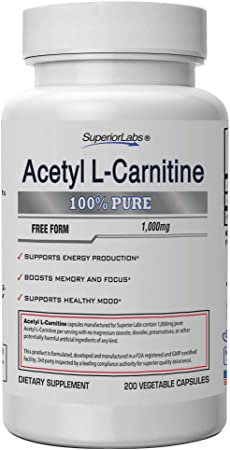 Superior Labs | Acetyl L-Carnitine 1000mg | 200 caps | Maximum Absorption | Pure Vegetable Capsules | Zero Synthetic Additives | Superior Absorption