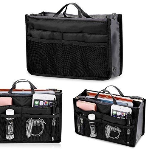 Asatr Multi-Pocket Handbag Organizer Purse Insert Liner Pouch Medium Size with Handles Many Pockets Black