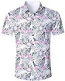 Men Flamingo Tropical Shirt Floral Hawaiian Aloha Pink White Button Down Funny Casual Short Sleeve Blouse Clothing Tee