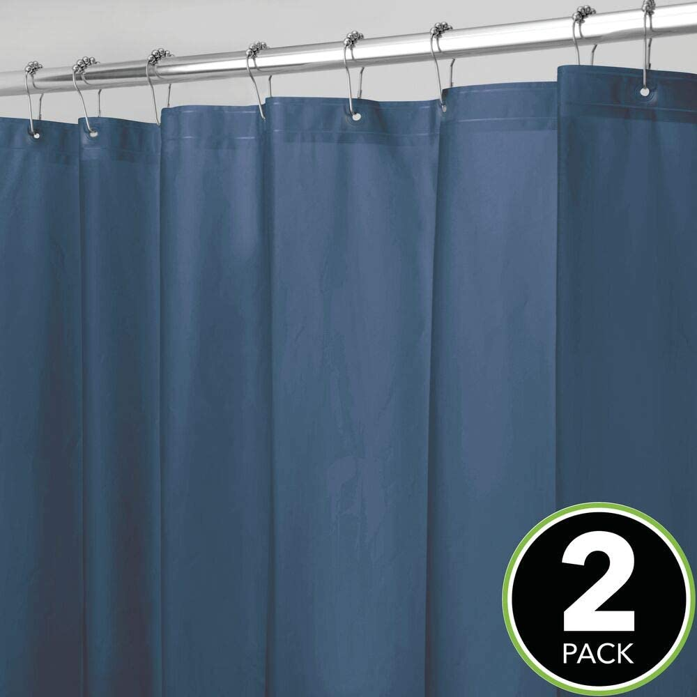 No Odor mDesign Plastic Mold//Mildew Resistant 72 inches x 72 inches 8 Pack Heavy Duty PEVA Shower Curtain Liner for Bathroom Showers and Bathtubs Clear Waterproof 3 Gauge