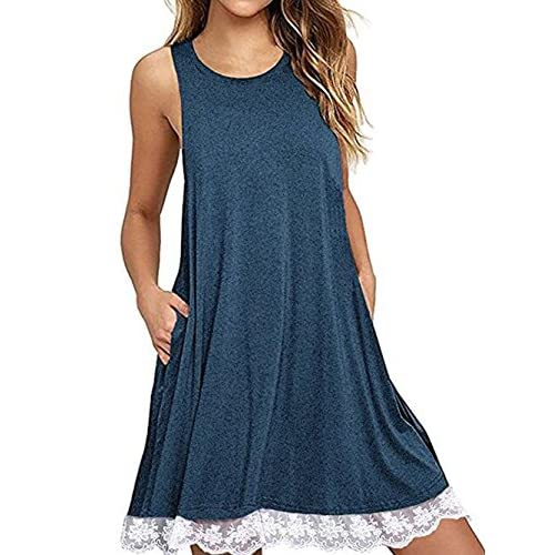 Wholesale Famulily Women's Sleeveless Lace Trim Loose Fit Flowy Tunic Tank Top supplier