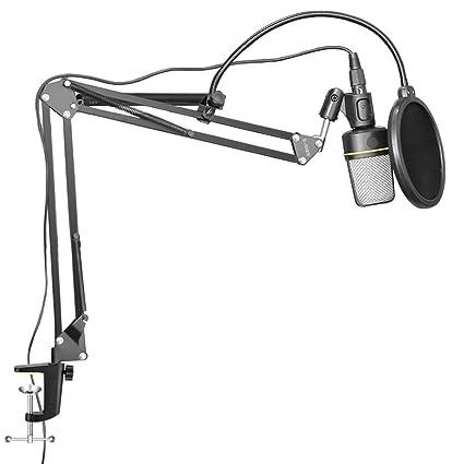 e-jiaen brazo soporte + Set de filtro Pop para micrófono plegable ...
