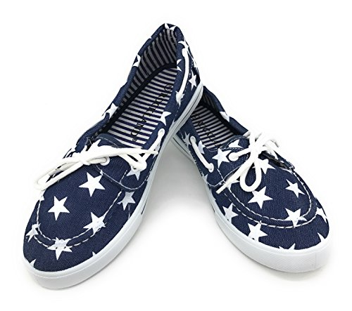 - Blue Berry EASY21 Canvas Lace Up Flat Slip On Boat Comfy Round Toe Sneaker Tennis Shoe,Denim Star,Size 8