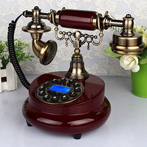 Mahogany Vintage Desk - AJZGFRetro phone with rotary dial, Office Phone European Retro Vintage Wood Garden Family Landline mahogany desk phone