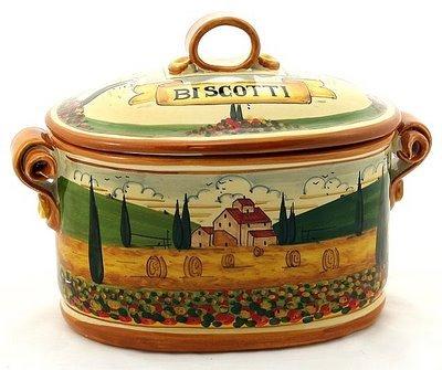 PAESAGGIO TOSCANA: Oval Biscotti Canister Jar [#P45P-PAE] (Toscana Biscotti)