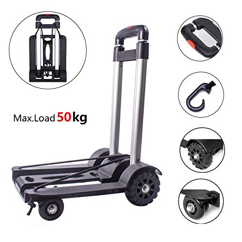 Folding Hand Truck and Dolly, 70 Kg Heavy Duty 4-Wheel Solid Construction Utility Cart Compact and Lightweight for Luggage, Personal, Travel, Auto, Moving and Office Use