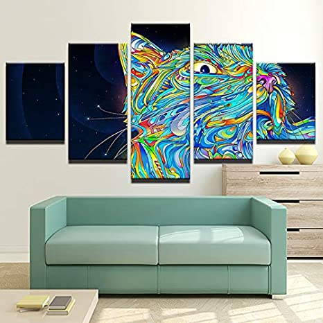 HOMOPK 5 Pieces Painting Modular Wallpaper HD Print On Canvas Wall Art Waterproof Poster Bathroom Living Room Home Decor Picture Colour Abstract Animal Cat A,Framed