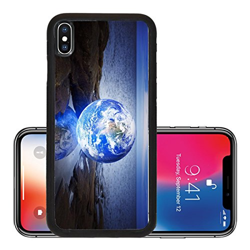 Liili Premium Apple iPhone X Aluminum Backplate Bumper Snap Case IMAGE ID: 17032642 Conceptual image of a Glowing earth in a puddle at sea Earth image provided by NASA