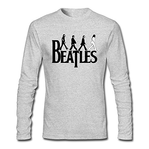 [BakeOnion Men's Long Seelve The Beatles Abbey Road T-shirt Tee L HeatherGray] (Young Elvis Presley Costumes)