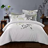 4 Piece Paisley Duvet Cover Set (Queen) - 1 Duvet Cover 2 Pillow Shams - 1 Flat Sheet Luxe Style Brushed Velvety Microfiber - Floral Pattern - Comfortable, Breathable, Soft & Extremely Durable , Nine