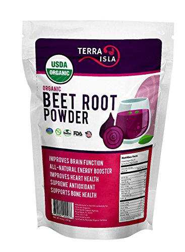 Organic Beet Root Powder by Terra Isla | Premium Nitric Oxide Booster | Blood Circulation Superfood | Non GMO | 8 Ounces For Sale
