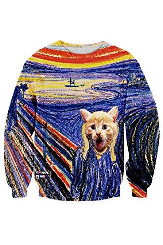 (Cutiefox Unisex Casual The Scream Print O Neck Sweatshirts Fleeces Hoody)