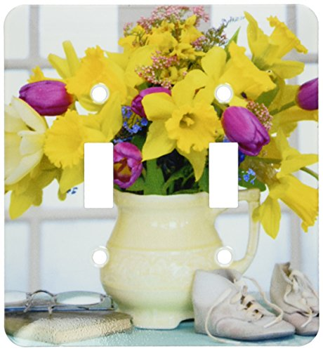 3dRose lsp_83325_2 Spring Flower Bouquet In Vase Na01 Bja0099 Jaynes Gallery Double Toggle - Bouquet Switchplate