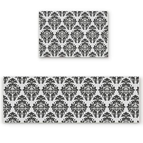 BMALL Kitchen Rug Mat Set of 2 Piece European Style Grey Damask Wallpaper Decorative Pattern Inside Outside Entrance Rugs Runner Rug Home Decor 19.7x31.5in+19.7x47.2in