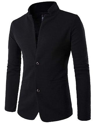 Homme Veste Blazer Slim Fit Veste Casual Business Elegant Bouton Costume  Manteau Jacket Noir M d67ae36fc11