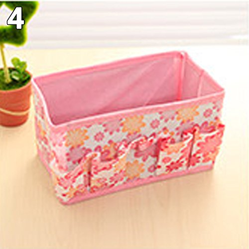 Baost Makeup Organizer Cosmetic Storage Fabric Desktop Organiser Foldable Storage Bins Stationary Container Pen Holder for Makeup Brushes Toiletry Jewelry Remote Control Holder Pink