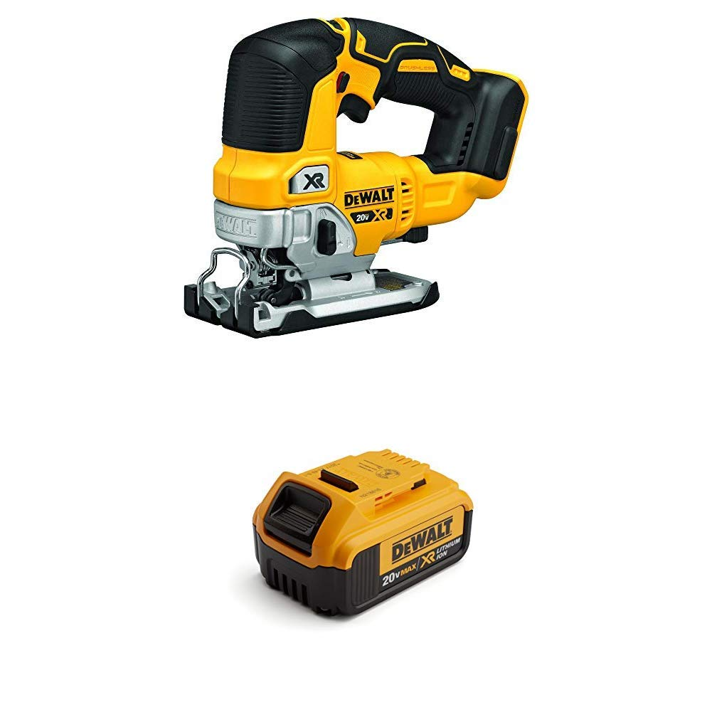 DEWALT 20V MAX Brushless Jig Saw & Premium 4.0Ah Battery - Charger Not Included (DCS334B & DCB204)