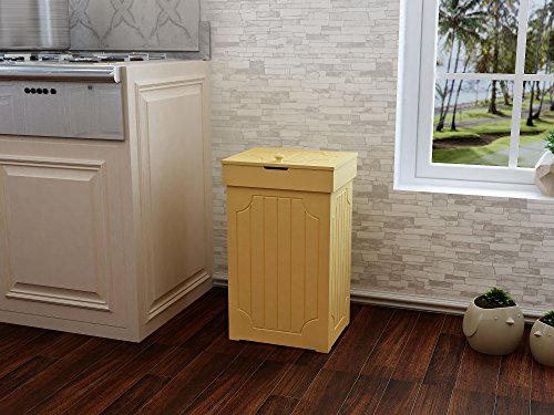 MULSH Trash Can Gabage Bins Waste Container 13 Gallons Rececling Dustbin Litter Bin Cabinet Wooden Kitchen Wastebaskets Space Saver with Lid,40.6x33x67.3cm(WxDxH) (Yellow)