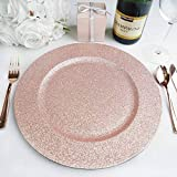 BalsaCircle 6 pcs 13-Inch Rose Gold Glitter Round Charger Plates - Dinner Wedding Supplies for all Holidays Decorations