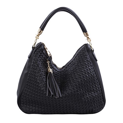 Premium PU Leather Double Tassel Interlace Braided Satchel Shoulder Bag Handbag, - Womens Handbag Braided