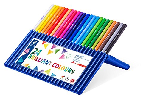 Staedtler Ergosoft Colored Pencils, Set of 24 Colors in Stand-up Easel Case (157SB24) (Colors In A 24 Pack Of Colored Pencils)