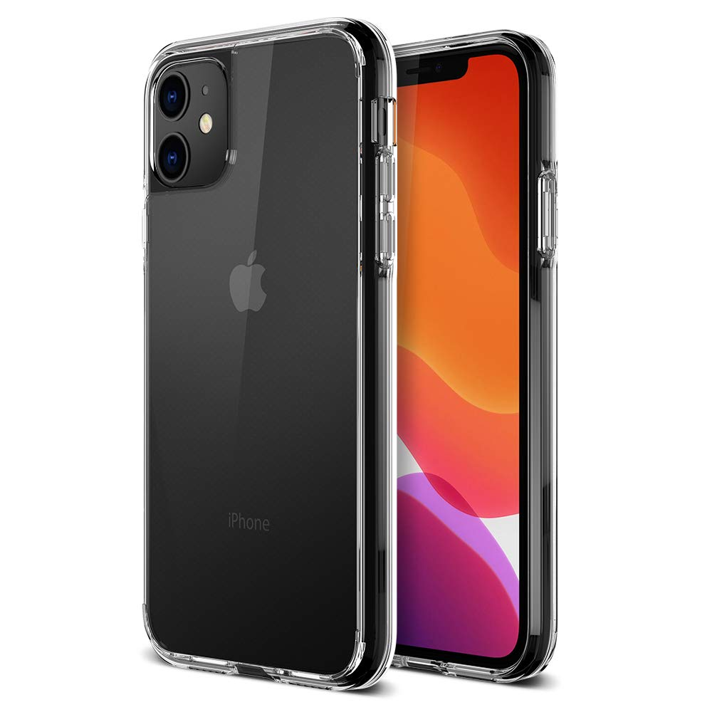 2019, 6.1 TPU Cushion Frame Protection Case and Hybrid Rigid Backing Cover Work with Most Screen Protector Trianium Clarium Series Designed for Apple iPhone 11 Case - Clear