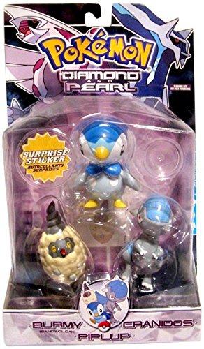 - Pokemon Diamond & Pearl Series 4 Burmy [Sandy Cloak], Cranidos & Piplup Figure 3-Pack