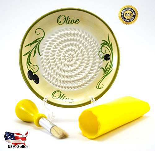 All-in-one Ceramic Garlic Grater set by- CA primeproducts -New Yellow Olive design with Garlic Peeler, Kitchen Brush, and BONUS Display (Ceramic Garlic Grater)