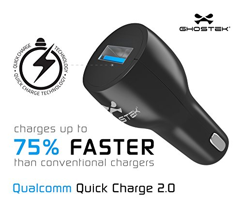 Ghostek NRGcharge QuickCharge 2.0 Rapid High-speed Fast Quick Car Charger Adapter with Micro USB Data Charging Cable | Smartphones | Tablets | Samsung Galaxy | Android | LG | Warranty