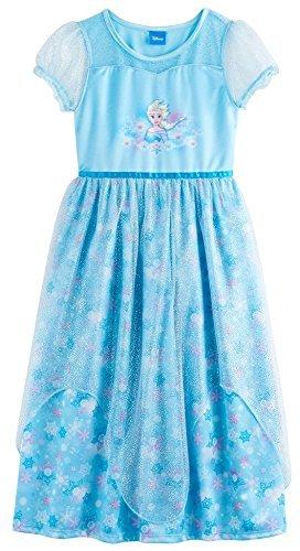 Disney Princess Frozen Elsa Girls Fantasy Gown, Kids Size (Elsa Frozen Gown)