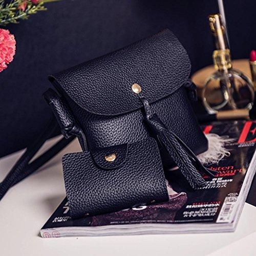 Rakkiss Women Four Set Handbag Shoulder Bag Fashion Tote Bag Crossbody Wallet Leather Satchel Backpack(Four Pieces) (One_Size, Black) by Rakkiss_Clearance Bag (Image #4)