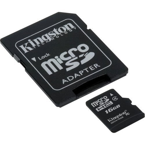 Professional Kingston 16GB MicroSDHC Card for Micromax Canvas Smartphone with custom formatting and Standard SD Adapter. (Class 4). by Kingston (Image #1)