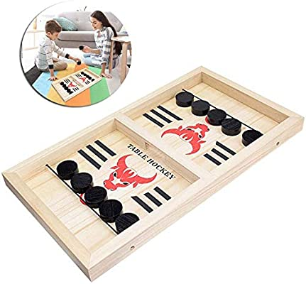 Juego De Mesa Fast Sling Puck, Table Desktop Bouncing Battle Chess Board Game, 2 Jugadores Battle Game para Niños Y Adultos Table Portable Desktop Battle 2 En 1 Ice Hockey Game: Amazon.es: Hogar