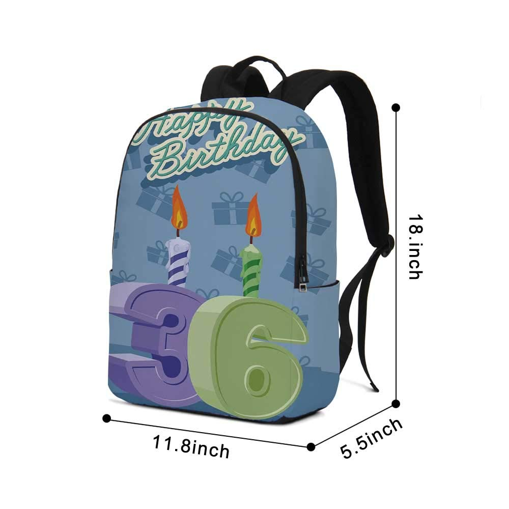36th Birthday Decorations Modern simple Backpack,Birthday Party 36 Candles on Baby Blue Backdrop Image for school,11.8''L x 5.5''W x 18.1''H by TecBillion (Image #2)