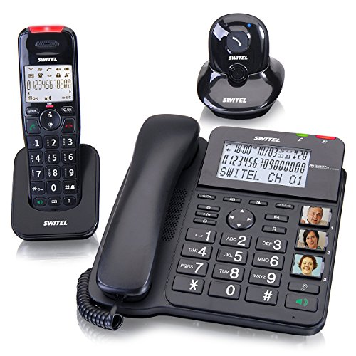 SWITEL Kombi Set aus Schnurlostelefon und Schnurtelefon mit Anrufbeantworter und Alarmanhaenger hoergeraetekompatibel