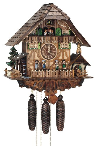 River City Clocks Eight Day Musical Cuckoo Clock Cottage, Moving Oompah Band and Waterwheel