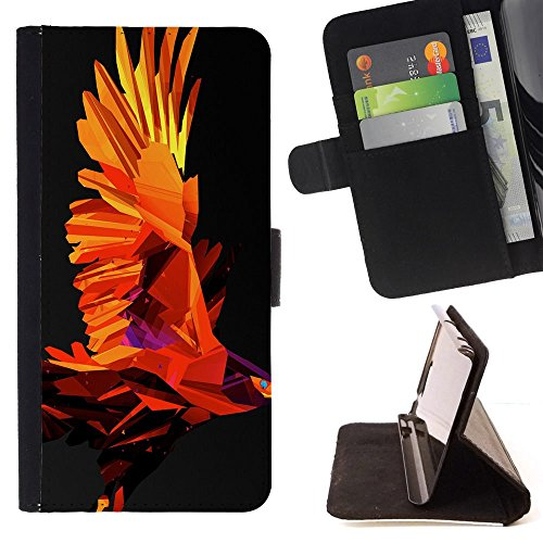 Firebird Poly Art Red Flames Wings Powerful - Colorful Pattern Flip Wallet Leather Holster Holster Protective Skin Case Cover For Samsung Galaxy J3(2016) J320F J320P J320M J320Y