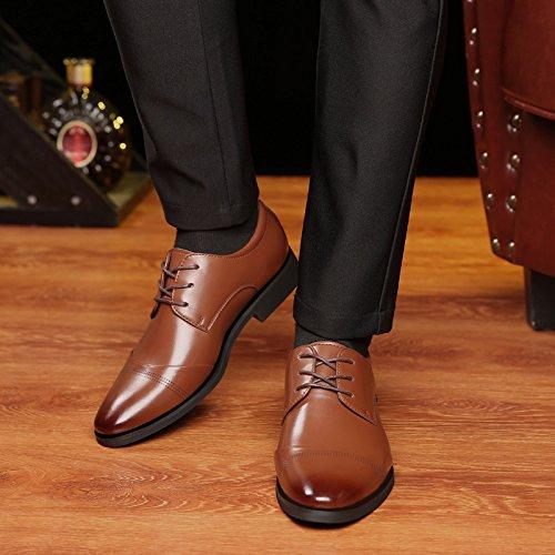 LQV Scarpe Bassa all'Usura in A da da con Antiscivolo Fashion Pelle Uomo Scarpe Resistenti Scarpe Brown Punta Scarpette Business Banchetto wUwqrZf7