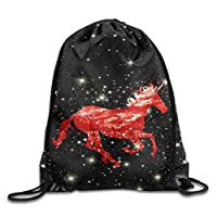 MNSTK Red Unicorn Gym Sack Bag Drawstring Backpack Sport Bag For Men & Women Sackpack