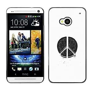 Planetar® ( Peace Hippie White Black Pen Art Sign ) HTC One M7 Fundas Cover Cubre Hard Case Cover