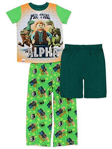 Lego Jurassic World Alpha Dinosaur Boys 3-Piece Pajamas Set (4-5, Green) -  manufacturer, S19B148JW