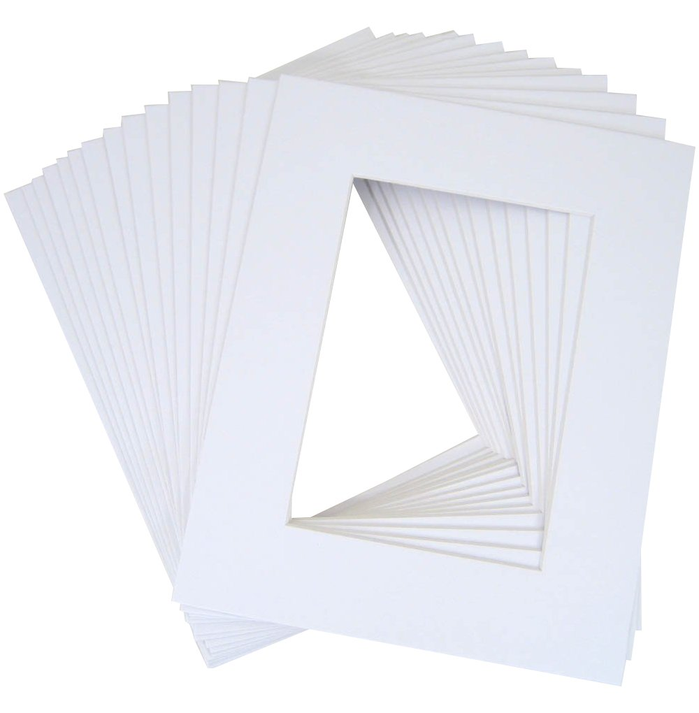 Golden State Art, Pack of 20 11x14 White Picture Mats with White Core Bevel Cut for 8x10 Pictures M11140810w020