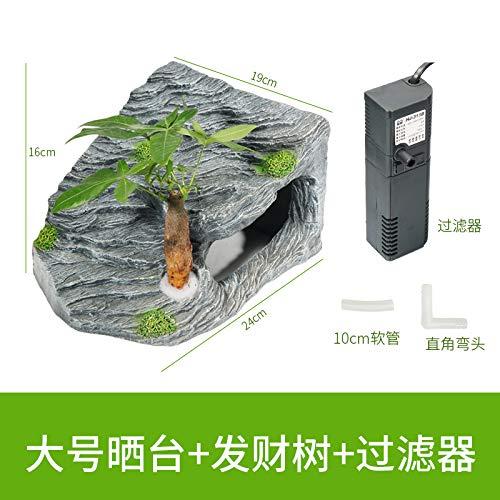 Large square + tree + filter JRTAN&Pet Turtle sun back terrace to avoid hiding, large square + rich tree + filter