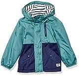 Osh Kosh Boys' Little Midweight Fleece Lined Windbreaker Jacket, Green/Black Colorblock, 7
