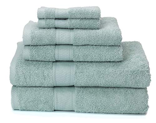 Ariv Collection Premium Bamboo Cotton 6-Piece Towel Set (2 Bath Towels, 2 Hand Towels and 2 Washcloths) - Natural, Ultra Absorbent and Eco-Friendly (Duck Egg) ()